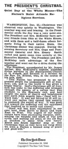 New York Times article from 1898 discussing President McKinley's Christmas celebration