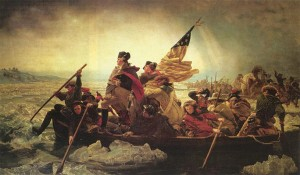 "James Monroe featured in Emanuel Leutze's famous painting, ""Washington Crossing the Delaware"""